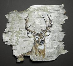 Buck deer hand painted on birch bark, in a 10 x 8 oak frame. Feather Painting, Pallet Painting, Pallet Art, Tole Painting, Painting On Wood, Birch Bark Crafts, Pallette, Wood Bark, Deer Art