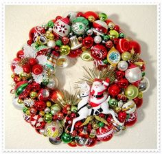 Vintage Finds, Mid Century and More at Evie's Haus: Vintage Ornament Wreath #3 - For my Hubby