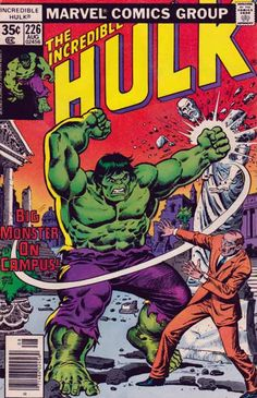 This was my very first ever Hulk comic book. A lot of ghost attached to it. I can not ever sell it. The Incredible Hulk #226 August, 1978 Ernie Chan Cover Art / Sal Buscema Pencils / Roger Stern Story. Hulk punches Doc Samson away and leaps from Gamma base. After a while, Ol'Greenskin reaches Desert State University, college where Bruce Banner attended.