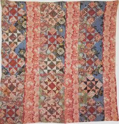Salmon and blue quilt Old Quilts, Strip Quilts, Scrappy Quilts, Small Quilts, Mini Quilts, Baby Quilts, Antique Crib, Antique Quilts, Vintage Quilts