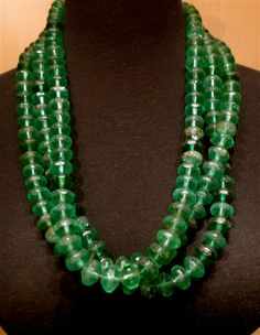 Old African Green Glass Bead Necklace
