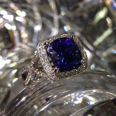 Tanzanite and Diamond ring. Available for purchase at Sissy's Log Cabin. Facebook.com/amberatsissys Instagram.com/amberatsissys