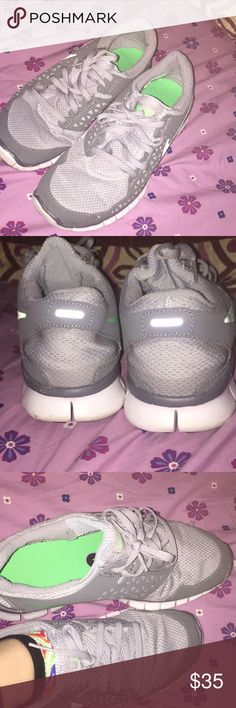 Nike shoes ! Selling for my sister so no offers  Good condition, just a little bent.  Picture showing how they look being worn vs not Some scuffing and wear NO RETURNS Nike Shoes Sneakers