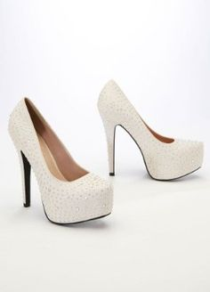 THESE!!!!!!! Amazon.com: David's Bridal Wedding & Bridesmaid Shoes Crepe Platform Pump with Flatback Crystals Style ANELSON2: Shoes
