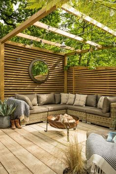 Large patio area with a garland illuminated pergola area and ratta . - Large patio area with a garland illuminated pergola area and rattan corner sofa - Backyard Seating, Backyard Patio Designs, Pergola Patio, Outdoor Seating, Outdoor Rooms, Outdoor Gardens, Pergola Ideas, Pergola Kits, Backyard Ideas