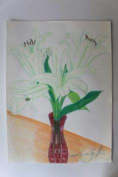 Lirios. Lápices de colores sobre papel. 42x29 cm. Disponible DRAWING, FLOWERS, ART, PAINTING