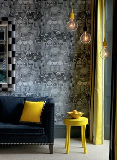 Number Sixteen Hotel, Firmdale Hotels in London Interior Design Inspiration, Home Decor Inspiration, Beautiful Interiors, Colorful Interiors, Hotel Interiors, Mellow Yellow, Bright Yellow, Yellow Black, Navy Blue