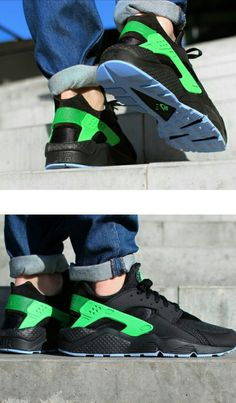 low priced 98fdb 0249a JUST LIFE STYLE™®  Nike Air Huarache  Black   Poison Green .