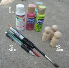 Paint Your Own Peg Dolls for Homemade Children's Toys - Blissfully Domestic Wood Peg Dolls, Clothespin Dolls, Doll Crafts, Diy Doll, Kids Crafts, Pretty Pegs, Wooden People, Clothes Pegs, Operation Christmas Child