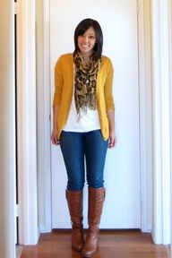 "jeans, brown boots, mustard cardi, leopard print scarf"" data-componentType=""MODAL_PIN"