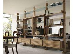 Bookcase by Dale Italia Shelving Design, Bookshelf Design, Room Deviders, Floor To Ceiling Bookshelves, Navy Living Rooms, Walnut Bookcase, Interior Staircase, Diy Room Divider, Interior Decorating