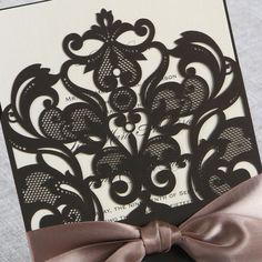 Elegant Laser Cut Half Pocket with a Bow - Wedding Invitations