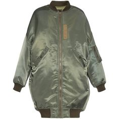 R13 Oversized bomber coat found on Polyvore featuring outerwear, coats, jackets, r13, khaki, khaki coat, oversized coat and bomber coat