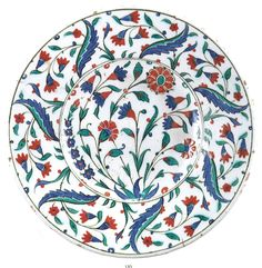 A polychrome Iznik pottery dish, Turkey, second half Century. Arts of the Islamic World - Sotheby's Catalogue, April 2014 Turkish Design, Turkish Art, Turkish Tiles, Islamic World, Islamic Art, Blue Pottery, Pottery Art, Advanced Ceramics, Glazes For Pottery