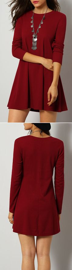 Soft burgundy casual dress.Nice choice to dress up or dress down. $13.19 at romwe.com.