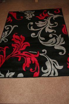 MODERN RED GREY BLACK DAMASK EXTRA LARGE RUG CHEAP