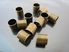 Finding - 6 pcs Antique Brass Round Cylinder Straight Tubes 10mm x 10mm ( Inside 9mm Diameter )