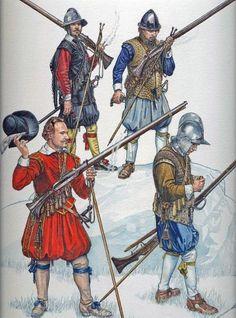 """Early Stuarts -  Matchlock Musketeer 1588 - 1688 - original Osprey illustration"" by Stephen Walsh.  http://www.etsy.com/listing/93986909/early-stuarts-matchlock-musketeer-1588"