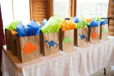 Dinosaur Party Favor Bags, Dinosaur Party, Good Dinosaur Favor bags, Jurassic World, pink dinosaur p Birthday Goody Bags, 4th Birthday Party For Boys, Birthday Bag, Baby Boy Birthday, Third Birthday, Dinosaur Train Party, Dinosaur Park, Dinosaur Party Favors, Dinosaur Birthday Party