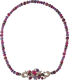 CARTIER. Long necklace with engraved stones, 18K pink gold, set with rubellites, amethysts, garnets, onyx and 879 brilliant-cut diamonds totaling 5.74 carats. This long necklace can be worn with or without the tassel. It can also be worn as a short necklace. #Cartier #CartierMagicien #HauteJoaillerie #FineJewelry #Diamond #Rubellite #Amethyst #Garnet #EngravedStones
