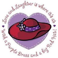 """RED HAT with """"Love and Laughter"""" Phrase on ONE 16 inch Fabric Panel for Quilting and Sewing.Picture is x' on white background. Fabric Panel Quilts, Fabric Squares, Fabric Panels, Red Hat Club, Red Hat Ladies, Red Hat Society, Pink Hat, Red Purple, Purple Dress"""