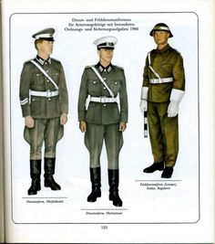1966 East German Army (NVA) military police officers and enlisted servicemen's service uniforms and field uniforms.