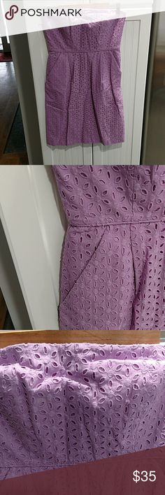 Jcrew strapless dress J. Crew Lilac purple flowered eyelet print strapless dress has front pockets and is in excellent condition J. Crew Dresses Strapless