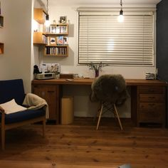 445さんの、My Desk,無印良品,照明,DIY,壁紙屋本舗,ペイント壁,イームズチェア,フライングタイガー,WOODPROについての部屋写真