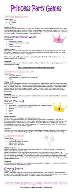 Princess Party Game Ideas list! Great way to maybe read or do a few with the girls to figure out which ones are more suited for the birthday party and least expensive.
