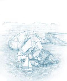 """soaring-albatross: """"I Dream of Being a Mermaid by ArandaDill """" Fantasy Mermaids, Real Mermaids, Mermaids And Mermen, Mermaid Artwork, Mermaid Drawings, Art Drawings, Mermaid Paintings, Drawing Art, Pencil Drawings"""