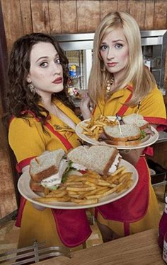 Two Broke Girls: sarcastic brunette breaks up with boyfriend, works two jobs, makes really good cupcakes... where have I heard this one before?