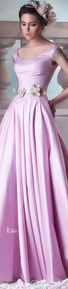 Hanna Touma ~ Couture Bright Pink Gown w Metallic Floral Belt Details 2015