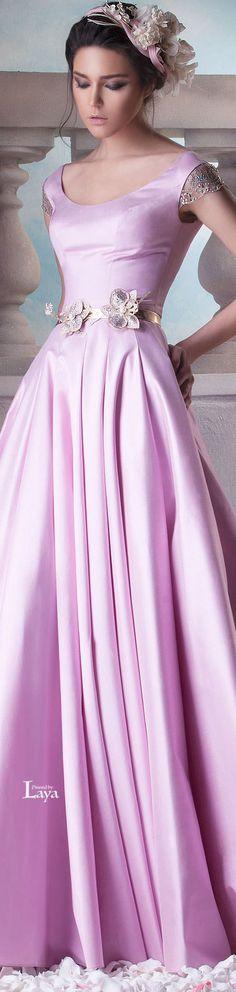 Hanna Touma ~ Couture Bright Pink Gown w Metallic Floral Belt Details 2015