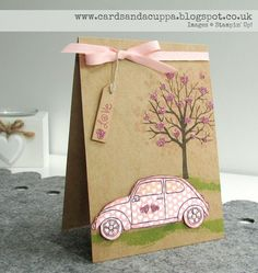 Sarah-Jane Rae cardsandacuppa: Stampin' Up! UK Order Online 24/7: Using Sheltering Tree and Beautiful Ride by Stampin' Up! Together and Paper Piecing the VW Beetle!