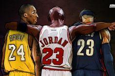 651bdb57e2a283 Kobe Bryant x Michael Jordan x LeBron James Illustration Lebron James  Michael Jordan
