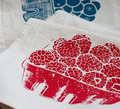 Each set of hand-screened hemp and organic napkins was created by Tina Produce and is made entirely of recycled fabric