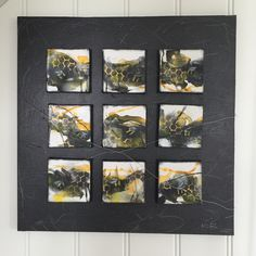 Bumblebees painting on small mini canvas