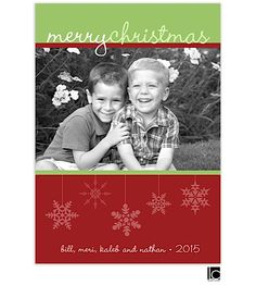 Lauren Chow Designs   Flat Photo Cards - Digital   Red and green hanging snowflakes Flat Digital Photo Holiday Card (Lauren Chow)   exclamationpaper.printswell.com