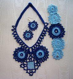Hand Crochet Navy Blue Cotton Necklace Earrings by CraftsbySigita,   www.etsy.com/shop/CraftsbySigita