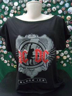 Camiseta Gola Canoa AC/DC Cor: Cinza Tamanho único R$ 45,00  www.elo7.com.br/dixiearte