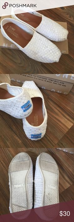 TOMS white crochet lace shoes TOMS crochet lace slip on shoes. Size 7.5W. Very cute and comfortable. Like new condition with box. Toms Shoes Flats & Loafers