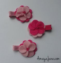 Pink Felted Flower Hair Clips { Amaya Jane Accessories }