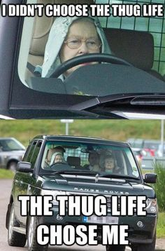 The Queen. In a hoodie and driving a Range Rover