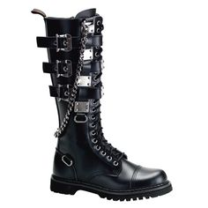 Demonia, Gravel 23 Unisex Lace-Up Black Leather Knee Boots with Metal Plated Buckle Up Straps & Chain (US 12 (EU Steampunk Boots, Goth Boots Mens, Gothic Mode, Gothic Lolita, Gothic Dress, Gothic Shoes, Lolita Shoes, Rangers, Estilo Rock