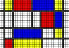 Alpha friendship bracelet pattern added by art abstract squares mondrian. Cross Stitch Bookmarks, Cross Stitch Embroidery, Cross Stitch Patterns, Piet Mondrian, Diy Bracelets Easy, Alpha Patterns, Macrame Tutorial, Crochet Chart, Loom Weaving