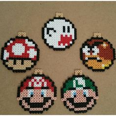 Mario Christmas ornaments perler beads by anypekexa