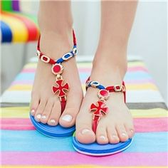 Bright Candy Color Clip-toe Flat Sandals