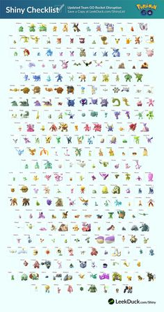 Shiny Pokémon are one of the most sought creatures. Here is a list of all currently available Shiny Pokémon. Pokemon Go, Pokemon Tips, Pokemon Craft, Pokemon Comics, Pokemon Fusion, Papercraft Pokemon, Pokemon Universe, Ocarina Of Times, Barbie Paper Dolls