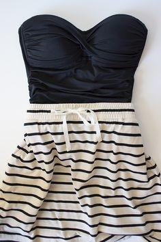 Jcrew swimsuit/ Striped Drawstring Knit Skirt from Loft