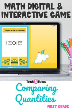 This digital math game for comparing quantities and numbers up to forty is a very fun way to practice this skill using place value and comparison symbols such as; greater than, less than, and equal to. These interactive, task cards on the Boom Learning platform are perfect for first grade students.